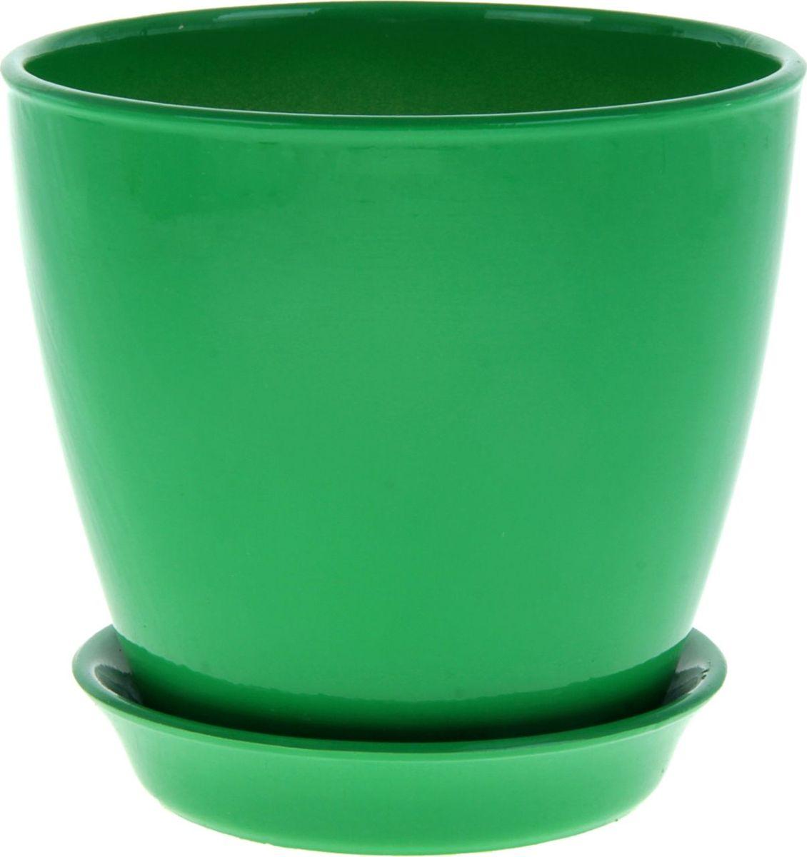 Кашпо Керамика ручной работы Виктория, цвет: зеленый, 2 л подставки для кашпо