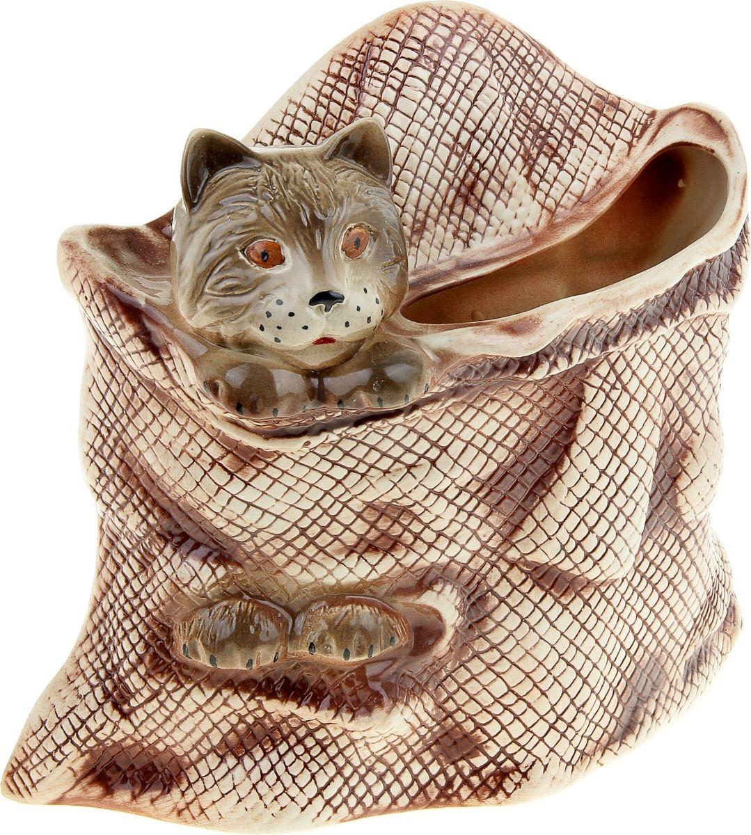 Кашпо Керамика ручной работы Кот в мешке, цвет: коричневый, 2,2 л835428