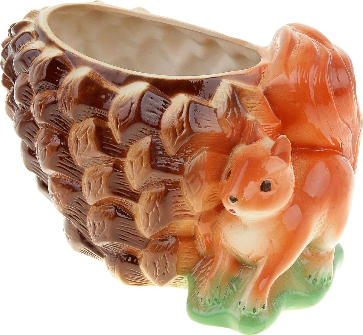 Кашпо Керамика ручной работы Белка с шишкой, 4,2 л835429