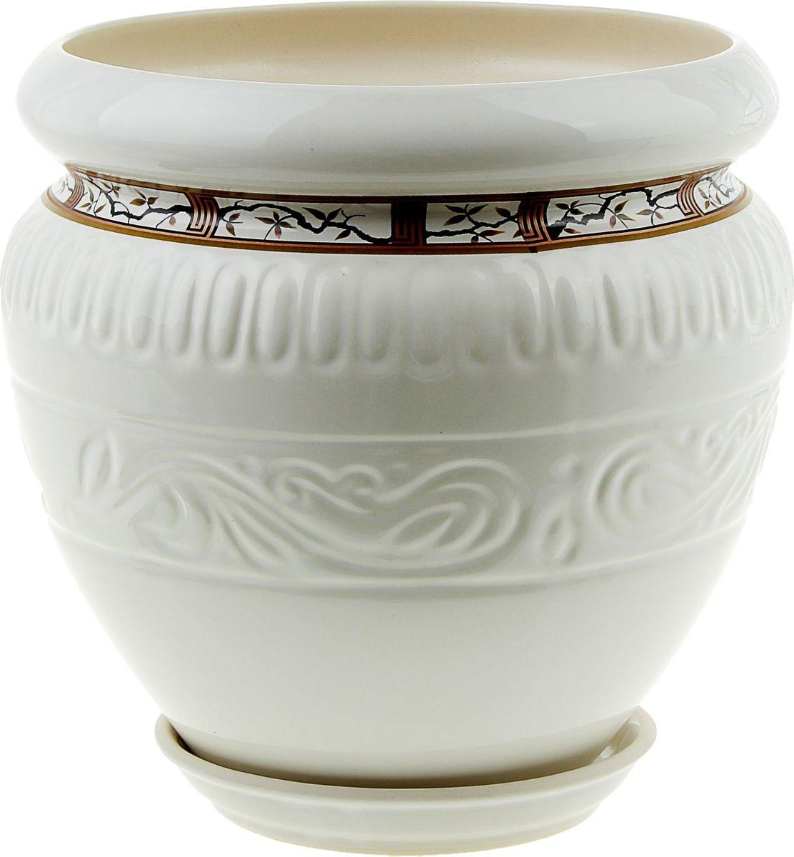 Кашпо Керамика ручной работы Амфора. Сакура, цвет: белый, 7,5 л835491Комнатные растения — всеобщие любимцы. Они радуют глаз, насыщают помещение кислородом и украшают пространство. Каждому из них необходим свой удобный и красивый дом.Кашпо из керамики прекрасно подходит для высадки растений: за счёт пластичности глины и разных способов обработки существует великое множество форм и дизайнов, пористый материал позволяет испаряться лишней влаге, воздух, необходимый для дыхания корней, проникает сквозь керамические стенки! Изделие освежит интерьер и подчеркнёт его стиль.