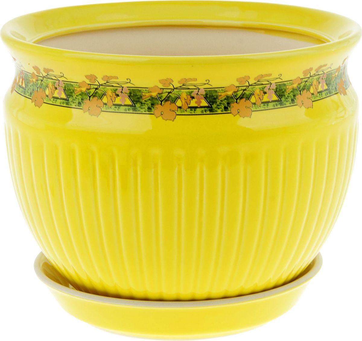 Кашпо Керамика ручной работы Антика. Золотая лоза, цвет: желтый, 5 л835498Комнатные растения — всеобщие любимцы. Они радуют глаз, насыщают помещение кислородом и украшают пространство. Каждому из них необходим свой удобный и красивый дом. Кашпо из керамики прекрасно подходят для высадки растений: за счёт пластичности глины и разных способов обработки существует великое множество форм и дизайновпористый материал позволяет испаряться лишней влагевоздух, необходимый для дыхания корней, проникает сквозь керамические стенки! #name# позаботится о зелёном питомце, освежит интерьер и подчеркнёт его стиль.