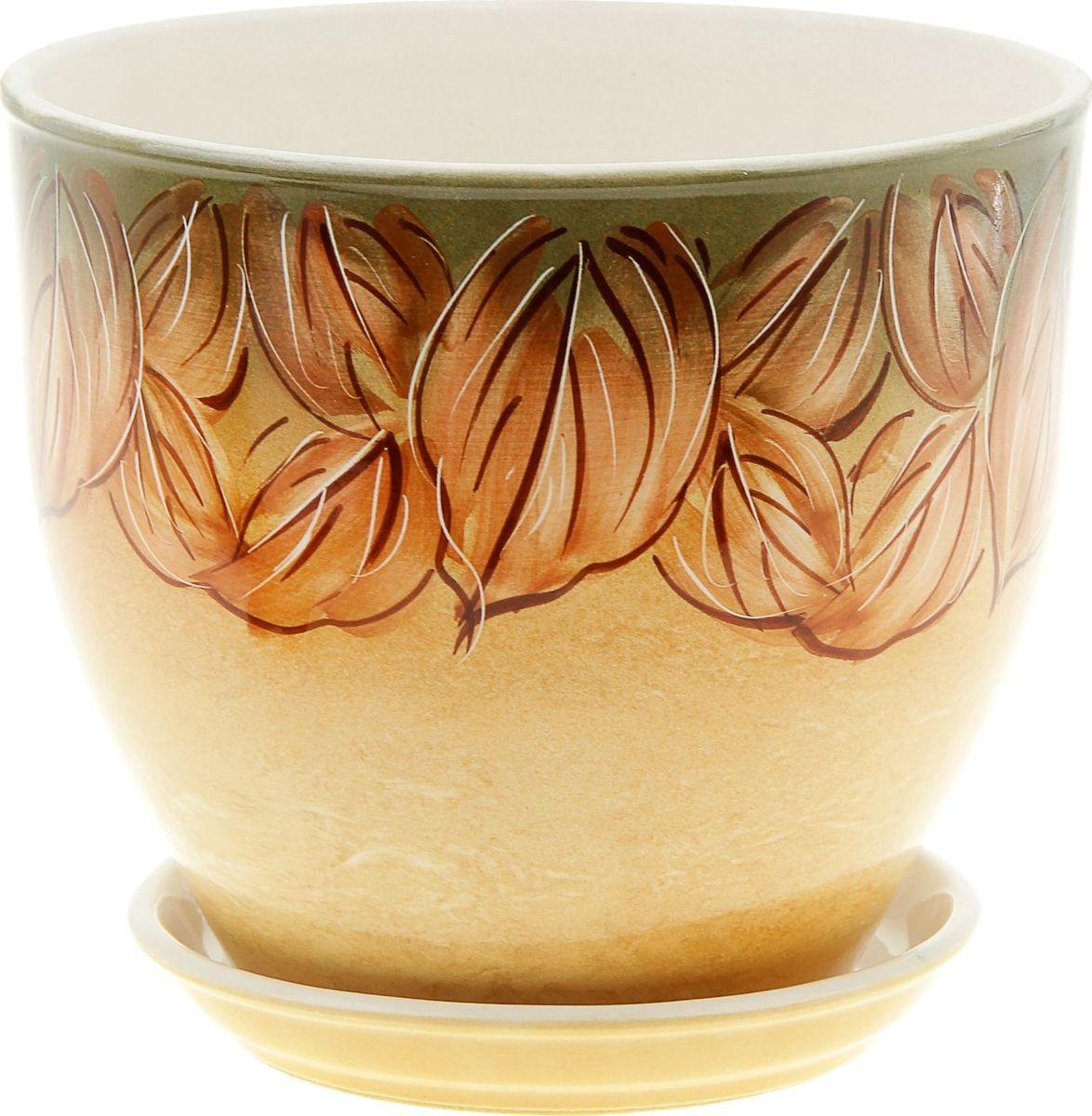 Кашпо Керамика ручной работы Виктор. Листья, 4 л835558Комнатные растения — всеобщие любимцы. Они радуют глаз, насыщают помещение кислородом и украшают пространство. Каждому из них необходим свой удобный и красивый дом. Кашпо из керамики прекрасно подходят для высадки растений: за счёт пластичности глины и разных способов обработки существует великое множество форм и дизайновпористый материал позволяет испаряться лишней влагевоздух, необходимый для дыхания корней, проникает сквозь керамические стенки! #name# позаботится о зелёном питомце, освежит интерьер и подчеркнёт его стиль.