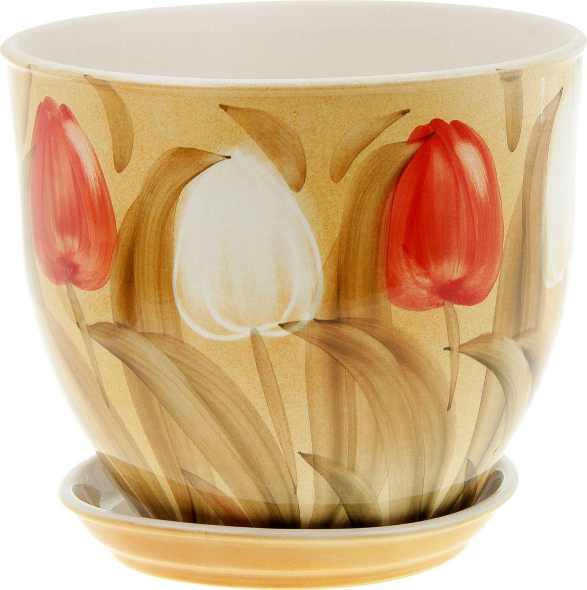 Кашпо Керамика ручной работы Виктор. Тюльпаны, 4 л835567Комнатные растения — всеобщие любимцы. Они радуют глаз, насыщают помещение кислородом и украшают пространство. Каждому из них необходим свой удобный и красивый дом. Кашпо из керамики прекрасно подходят для высадки растений: за счёт пластичности глины и разных способов обработки существует великое множество форм и дизайновпористый материал позволяет испаряться лишней влагевоздух, необходимый для дыхания корней, проникает сквозь керамические стенки! #name# позаботится о зелёном питомце, освежит интерьер и подчеркнёт его стиль.