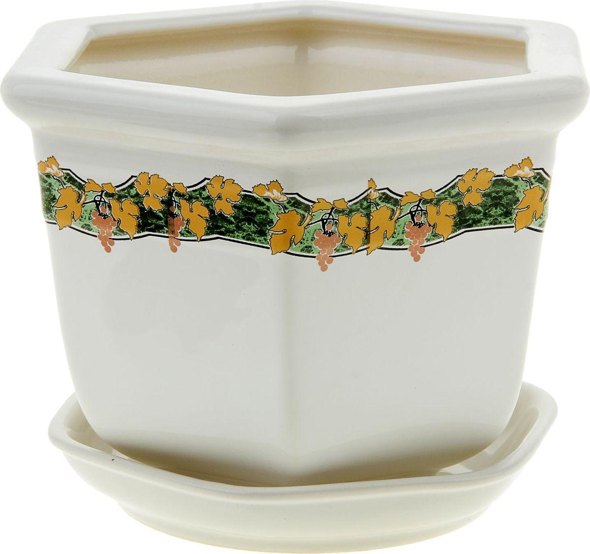 Кашпо Керамика ручной работы Греция. Золотая лоза, цвет: белый, 2 л835569Комнатные растения - всеобщие любимцы. Они радуют глаз, насыщают помещение кислородом и украшают пространство. Каждому из них необходим свой удобный и красивый дом. Кашпо из керамики прекрасно подходят для высадки растений: за счет пластичности глины и разных способов обработки существует великое множество форм и дизайнов. Пористый материал позволяет испаряться лишней влаге. Воздух, необходимый для дыхания корней, проникает сквозь керамические стенки.