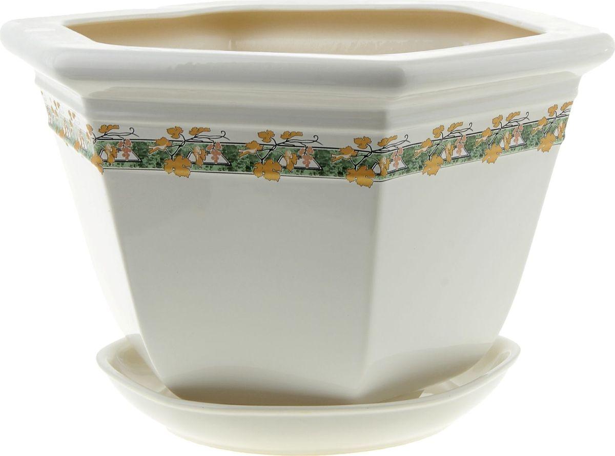 Кашпо Керамика ручной работы Греция. Золотая лоза, цвет: белый, 6 л835581Комнатные растения — всеобщие любимцы. Они радуют глаз, насыщают помещение кислородом и украшают пространство. Каждому из них необходим свой удобный и красивый дом. Кашпо из керамики прекрасно подходят для высадки растений: за счёт пластичности глины и разных способов обработки существует великое множество форм и дизайновпористый материал позволяет испаряться лишней влагевоздух, необходимый для дыхания корней, проникает сквозь керамические стенки! #name# позаботится о зелёном питомце, освежит интерьер и подчеркнёт его стиль.