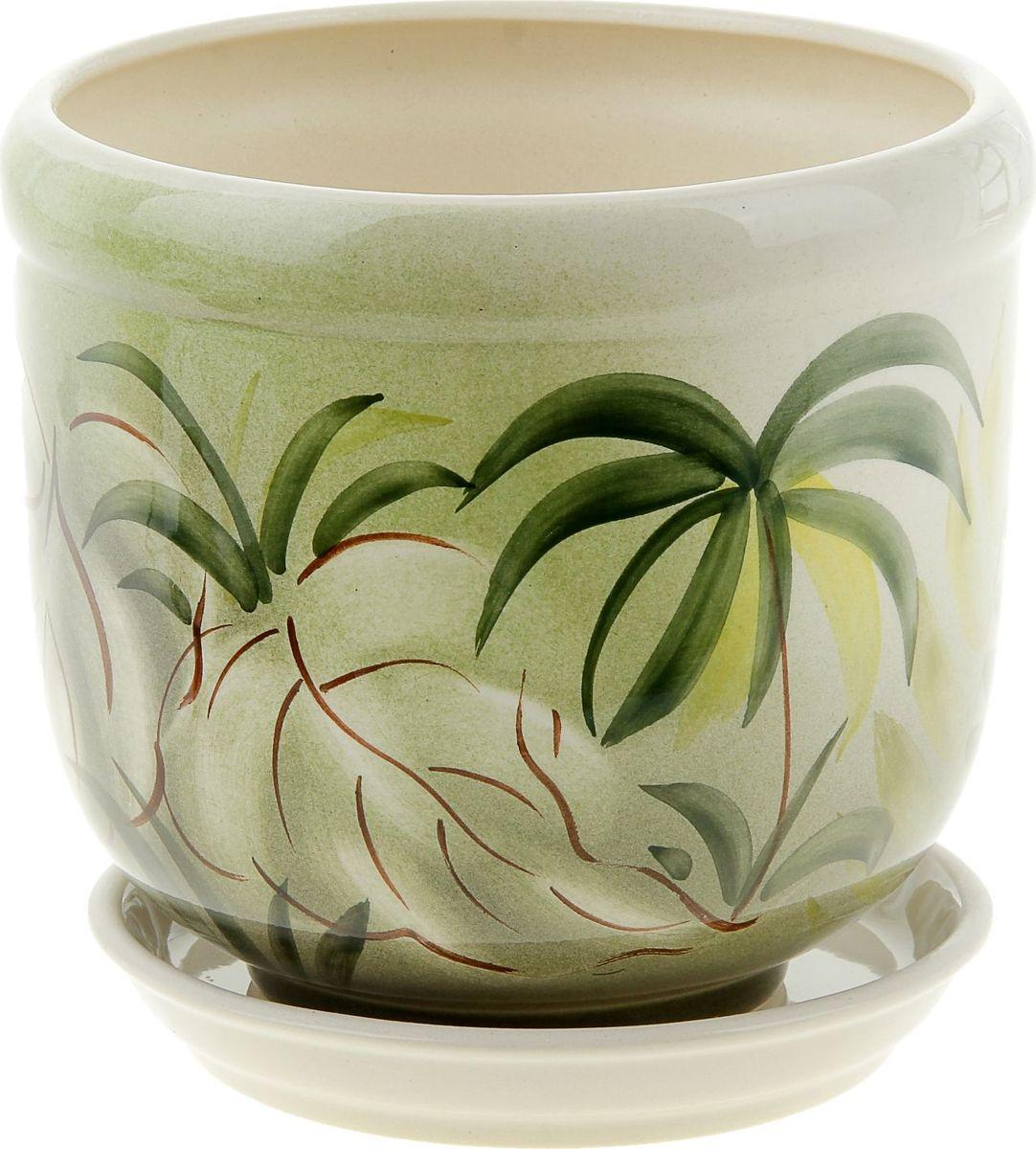 Кашпо Керамика ручной работы Ривьера. Пальмы, 2,4 л835586Комнатные растения — всеобщие любимцы. Они радуют глаз, насыщают помещение кислородом и украшают пространство. Каждому из них необходим свой удобный и красивый дом. Кашпо из керамики прекрасно подходят для высадки растений: за счёт пластичности глины и разных способов обработки существует великое множество форм и дизайновпористый материал позволяет испаряться лишней влагевоздух, необходимый для дыхания корней, проникает сквозь керамические стенки! #name# позаботится о зелёном питомце, освежит интерьер и подчеркнёт его стиль.