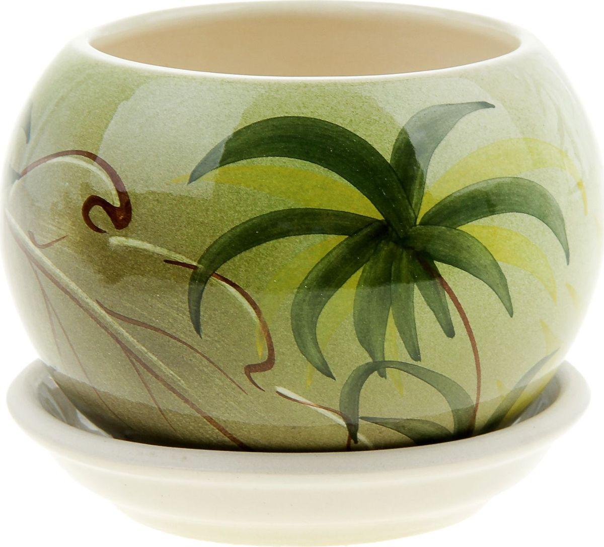Кашпо Керамика ручной работы Шар. Баунти, 0,4 л835631Комнатные растения — всеобщие любимцы. Они радуют глаз, насыщают помещение кислородом и украшают пространство. Каждому из них необходим свой удобный и красивый дом. Кашпо из керамики прекрасно подходят для высадки растений: за счет пластичности глины и разных способов обработки существует великое множество форм и дизайнов пористый материал позволяет испаряться лишней влаге воздух, необходимый для дыхания корней, проникает сквозь керамические стенки! позаботится о зеленом питомце, освежит интерьер и подчеркнет его стиль.