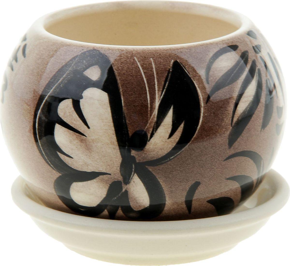 Кашпо Керамика ручной работы Шар. Мотылек, 0,4 л835632Комнатные растения - всеобщие любимцы. Они радуют глаз, насыщают помещение кислородом и украшают пространство. Каждому из них необходим свой удобный и красивый дом. Кашпо из керамики прекрасно подходят для высадки растений:- пористый материал позволяет испаряться лишней влаге;- воздух, необходимый для дыхания корней, проникает сквозь керамические стенки. Кашпо Шар. Мотылек позаботится о зеленом питомце, освежит интерьер и подчеркнет его стиль.