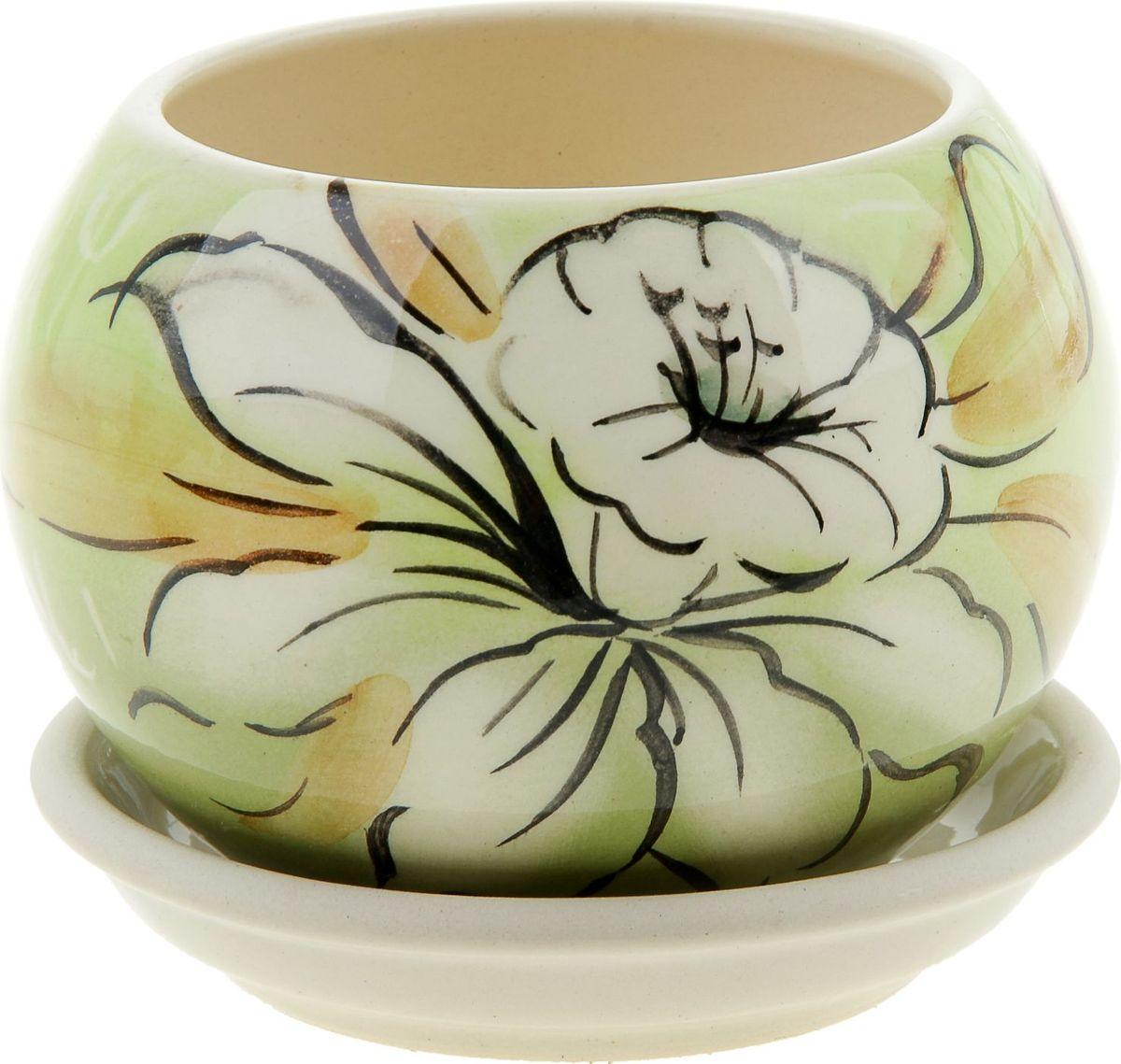 Кашпо Керамика ручной работы Шар. Нарцисс, 0,4 л835633Комнатные растения — всеобщие любимцы. Они радуют глаз, насыщают помещение кислородом и украшают пространство. Каждому из них необходим свой удобный и красивый дом. Кашпо из керамики прекрасно подходят для высадки растений: за счёт пластичности глины и разных способов обработки существует великое множество форм и дизайновпористый материал позволяет испаряться лишней влагевоздух, необходимый для дыхания корней, проникает сквозь керамические стенки! #name# позаботится о зелёном питомце, освежит интерьер и подчеркнёт его стиль.