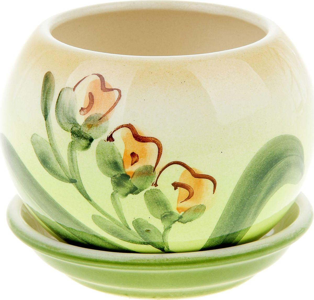 Кашпо Керамика ручной работы Шар. Орхидея, 0,4 л835635Комнатные растения - всеобщие любимцы. Они радуют глаз, насыщают помещение кислородом и украшают пространство. Каждому из них необходим свой удобный и красивый дом. Кашпо из керамики прекрасно подходят для высадки растений:- пористый материал позволяет испаряться лишней влаге;- воздух, необходимый для дыхания корней, проникает сквозь керамические стенки.Кашпо Шар. Орхидея позаботится о зеленом питомце, освежит интерьер и подчеркнет его стиль.