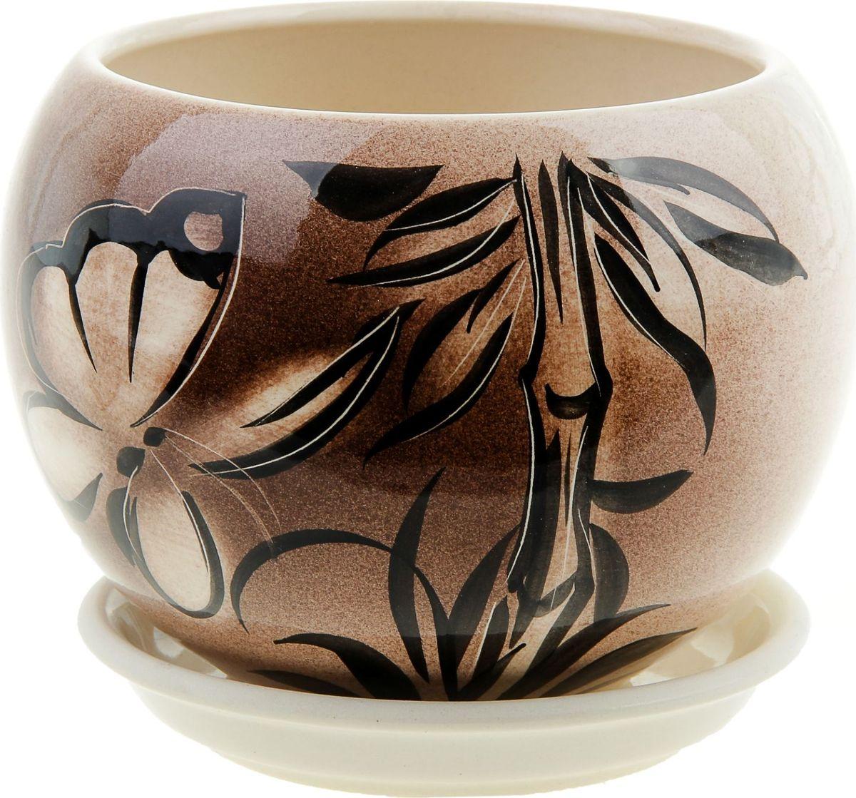 Кашпо Керамика ручной работы Шар. Мотылек, 1,4 л835639Комнатные растения - всеобщие любимцы. Они радуют глаз, насыщают помещение кислородом и украшают пространство. Каждому из них необходим свой удобный и красивый дом. Кашпо из керамики прекрасно подходят для высадки растений:- пористый материал позволяет испаряться лишней влаге;- воздух, необходимый для дыхания корней, проникает сквозь керамические стенки. Кашпо Шар. Мотылек позаботится о зеленом питомце, освежит интерьер и подчеркнет его стиль.
