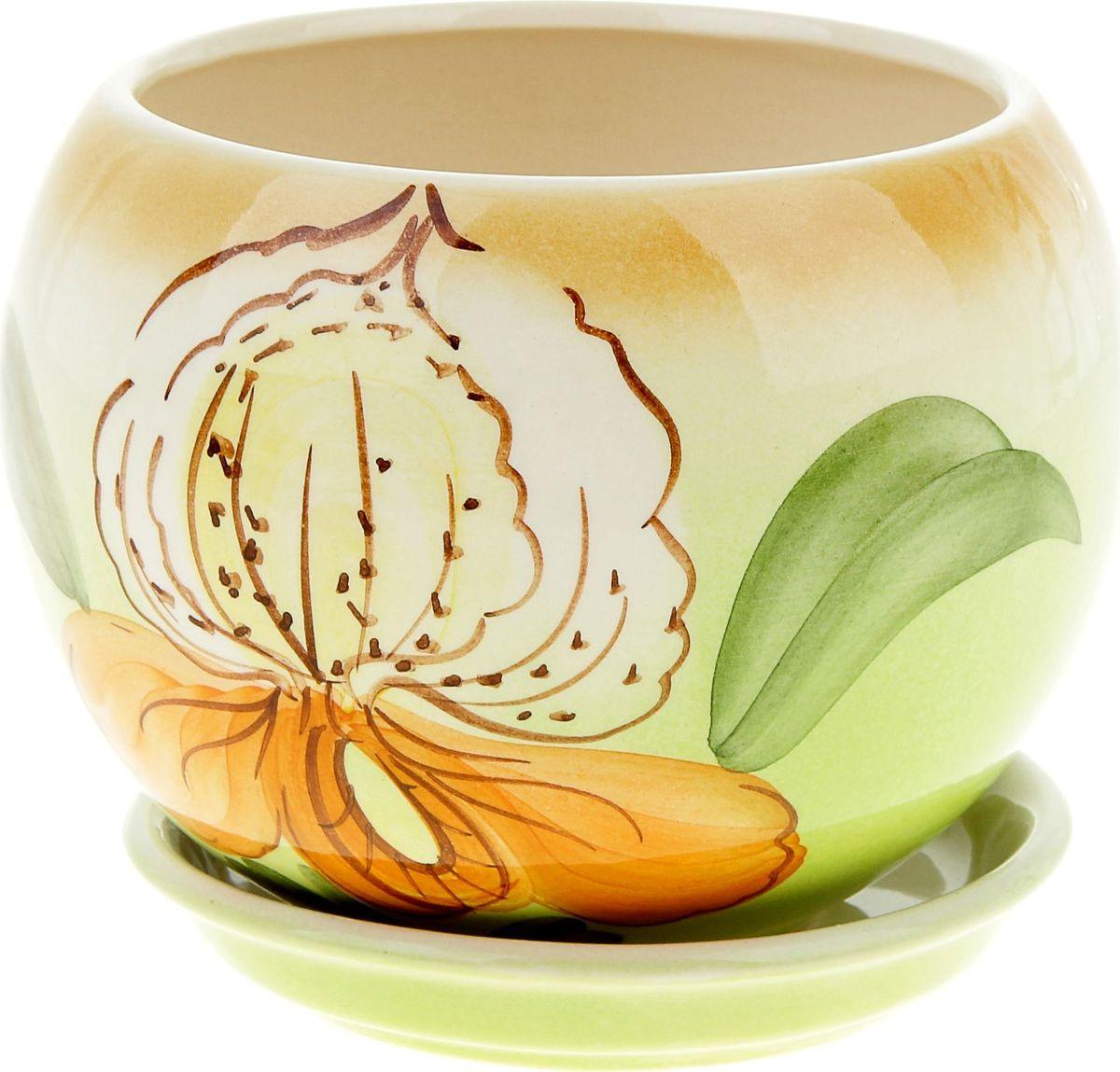 Кашпо Керамика ручной работы Шар. Орхидея, 1,4 л835642Комнатные растения - всеобщие любимцы. Они радуют глаз, насыщают помещение кислородом и украшают пространство. Каждому из них необходим свой удобный и красивый дом. Кашпо из керамики прекрасно подходят для высадки растений:- пористый материал позволяет испаряться лишней влаге;- воздух, необходимый для дыхания корней, проникает сквозь керамические стенки. Кашпо Шар. Орхидея позаботится о зеленом питомце, освежит интерьер и подчеркнет его стиль.