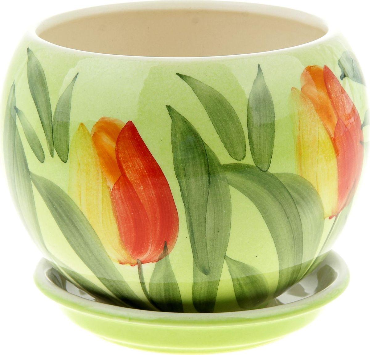 Кашпо Керамика ручной работы Шар. Тюльпан, цвет: красный, 1,4 л835643Комнатные растения — всеобщие любимцы. Они радуют глаз, насыщают помещение кислородом и украшают пространство. Каждому из них необходим свой удобный и красивый дом. Кашпо из керамики прекрасно подходят для высадки растений: за счёт пластичности глины и разных способов обработки существует великое множество форм и дизайновпористый материал позволяет испаряться лишней влагевоздух, необходимый для дыхания корней, проникает сквозь керамические стенки! #name# позаботится о зелёном питомце, освежит интерьер и подчеркнёт его стиль.