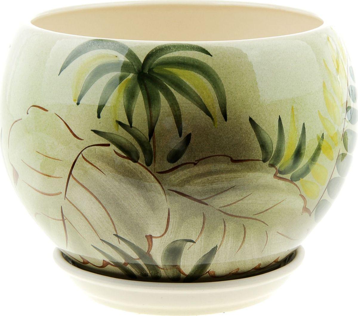 Кашпо Керамика ручной работы Шар. Баунти, 4,1 л835645Комнатные растения - всеобщие любимцы. Они радуют глаз, насыщают помещение кислородом и украшают пространство. Каждому из них необходим свой удобный и красивый дом. Кашпо из керамики прекрасно подходят для высадки растений:- пористый материал позволяет испаряться лишней влаге;- воздух, необходимый для дыхания корней, проникает сквозь керамические стенки. Кашпо Шар. Баунти позаботится о зеленом питомце, освежит интерьер и подчеркнет его стиль.