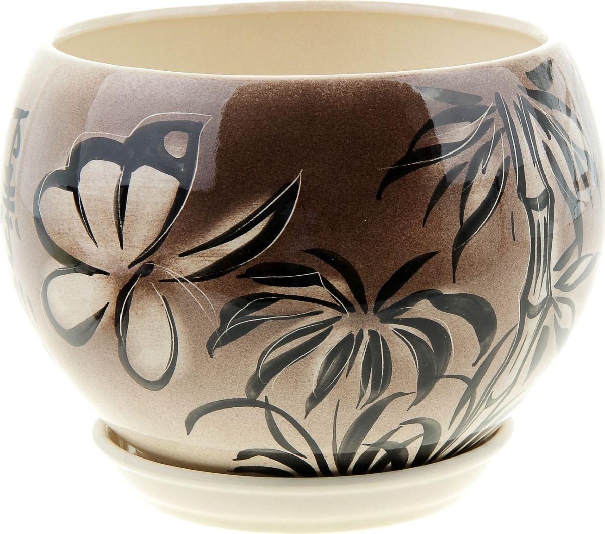 Кашпо Керамика ручной работы Шар. Мотылек, 4,1 л835646Комнатные растения - всеобщие любимцы. Они радуют глаз, насыщают помещение кислородом и украшают пространство. Каждому из них необходим свой удобный и красивый дом. Кашпо из керамики прекрасно подходят для высадки растений:- пористый материал позволяет испаряться лишней влаге;- воздух, необходимый для дыхания корней, проникает сквозь керамические стенки. Кашпо Шар. Мотылек позаботится о зеленом питомце, освежит интерьер и подчеркнет его стиль.