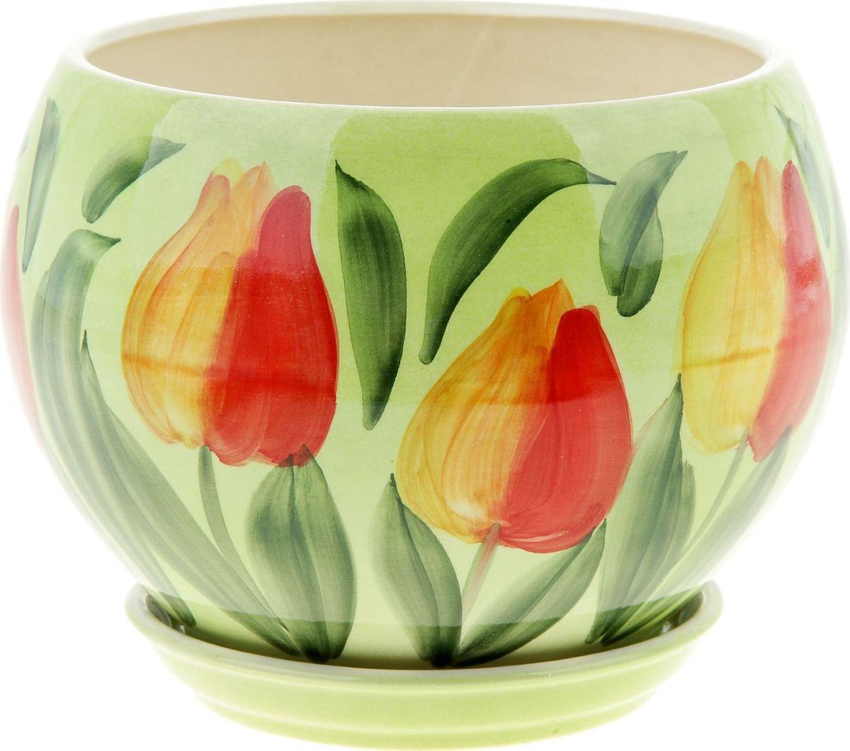 Кашпо Керамика ручной работы Шар. Тюльпан, цвет: красный, 4,1 л830Комнатные растения — всеобщие любимцы. Они радуют глаз, насыщают помещение кислородом и украшают пространство. Каждому из них необходим свой удобный и красивый дом. Кашпо из керамики прекрасно подходят для высадки растений: за счет пластичности глины и разных способов обработки существует великое множество форм и дизайнов пористый материал позволяет испаряться лишней влаге воздух, необходимый для дыхания корней, проникает сквозь керамические стенки! позаботится о зеленом питомце, освежит интерьер и подчеркнет его стиль.