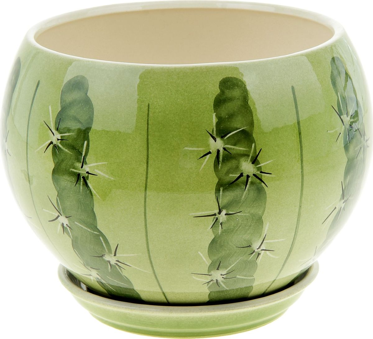 Горшок для цветов Керамика ручной работы  Шар. Кактус , 4,1 л -  Садовый декор