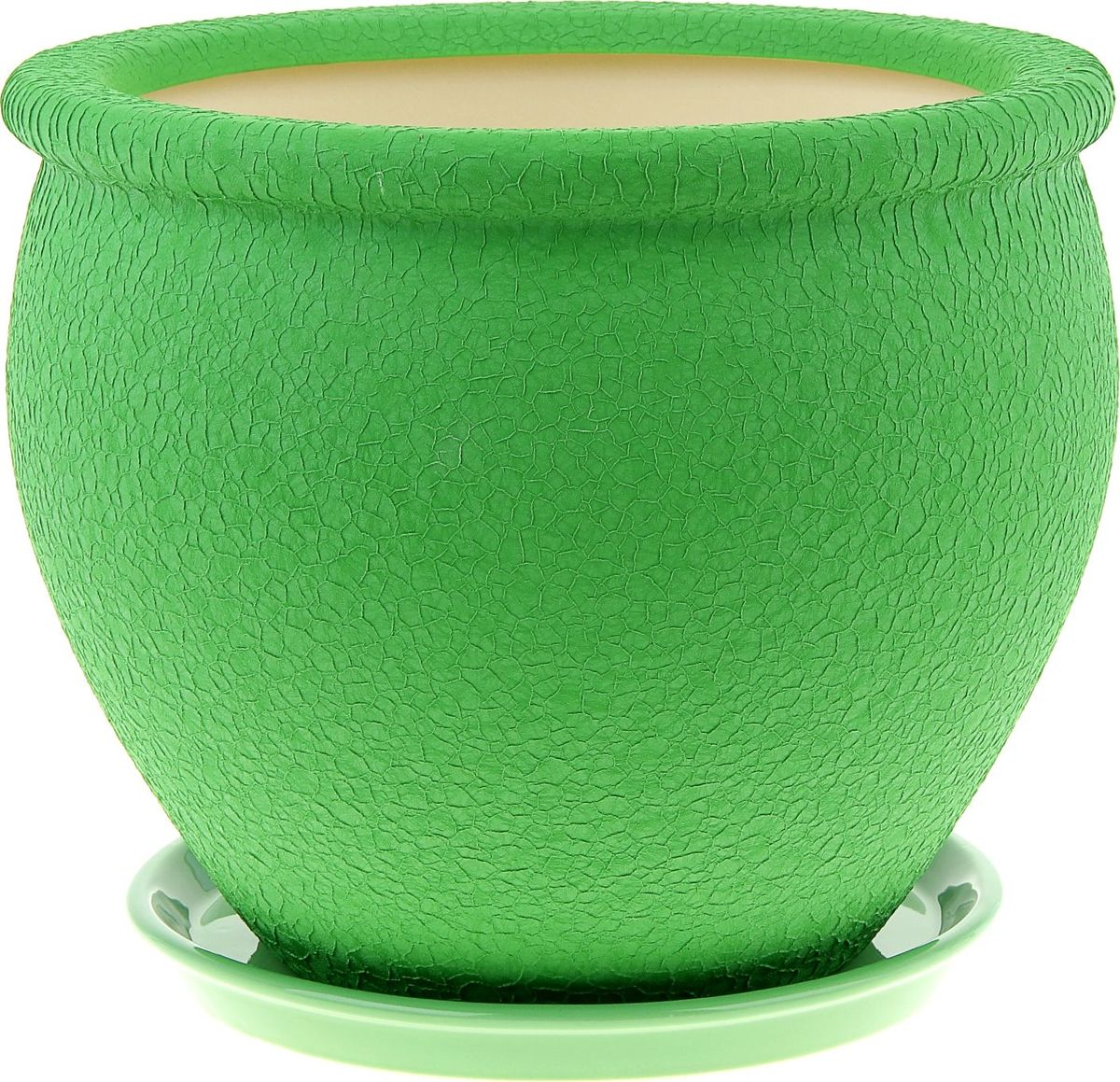 Кашпо Керамика ручной работы Вьетнам, цвет: зеленый, 10 л834Комнатные растения — всеобщие любимцы. Они радуют глаз, насыщают помещение кислородом и украшают пространство. Каждому из них необходим свой удобный и красивый дом. Кашпо из керамики прекрасно подходят для высадки растений: за счет пластичности глины и разных способов обработки существует великое множество форм и дизайнов пористый материал позволяет испаряться лишней влаге воздух, необходимый для дыхания корней, проникает сквозь керамические стенки! позаботится о зеленом питомце, освежит интерьер и подчеркнет его стиль.