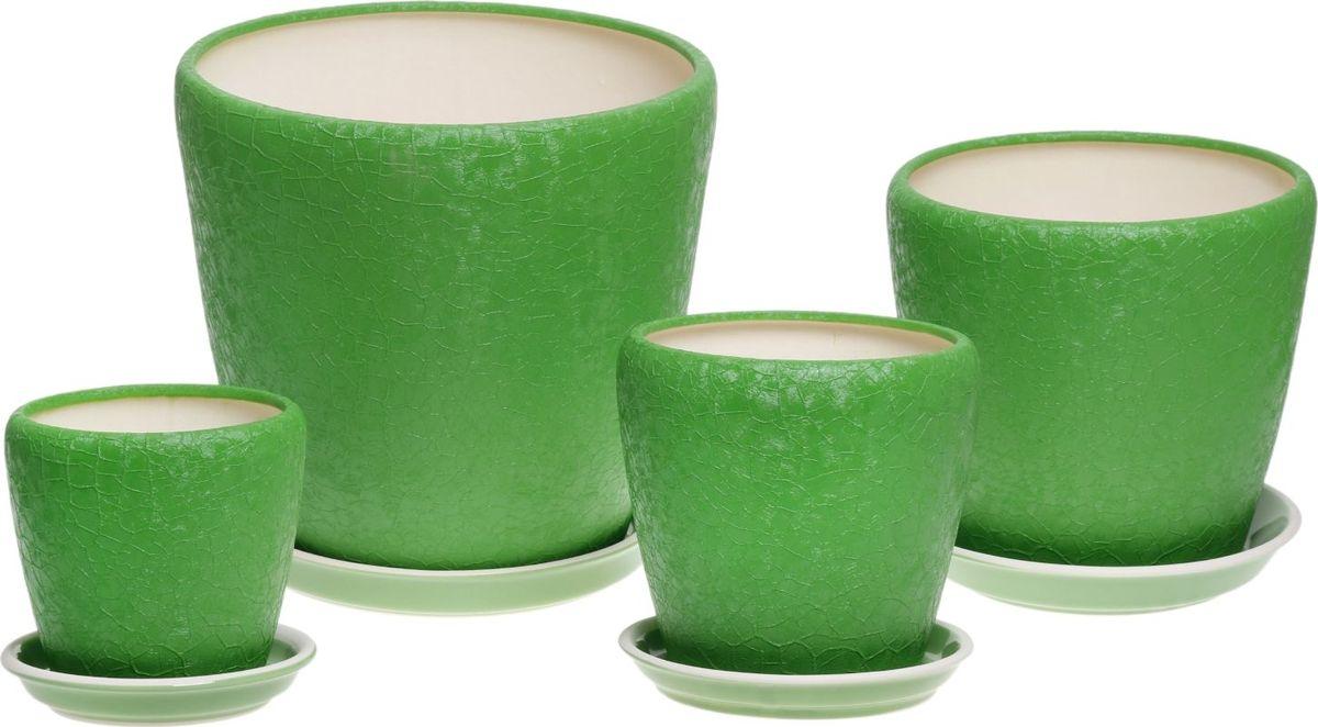 Набор кашпо Керамика ручной работы Грация, цвет: зеленый, 4 предмета835675Комнатные растения — всеобщие любимцы. Они радуют глаз, насыщают помещение кислородом и украшают пространство. Каждому из них необходим свой удобный и красивый дом. Кашпо из керамики прекрасно подходят для высадки растений: за счёт пластичности глины и разных способов обработки существует великое множество форм и дизайновпористый материал позволяет испаряться лишней влагевоздух, необходимый для дыхания корней, проникает сквозь керамические стенки! #name# позаботится о зелёном питомце, освежит интерьер и подчеркнёт его стиль.