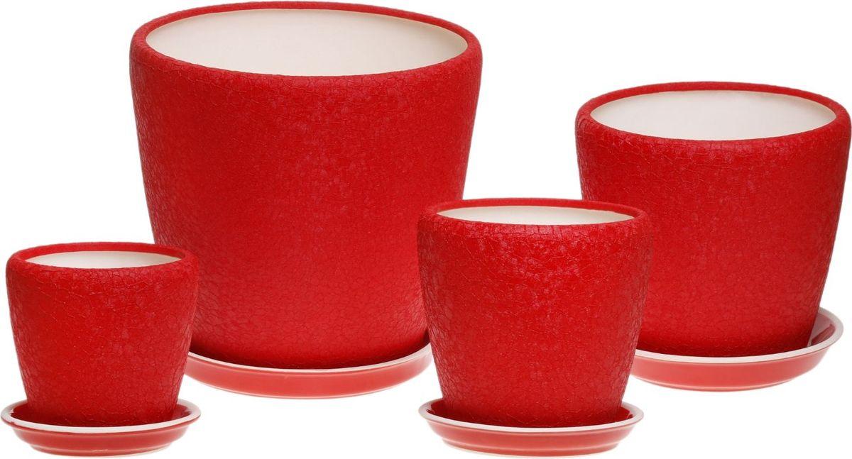 Набор кашпо Керамика ручной работы Грация, цвет: красный, 4 предмета835676Комнатные растения — всеобщие любимцы. Они радуют глаз, насыщают помещение кислородом и украшают пространство. Каждому из них необходим свой удобный и красивый дом. Кашпо из керамики прекрасно подходят для высадки растений: за счет пластичности глины и разных способов обработки существует великое множество форм и дизайнов пористый материал позволяет испаряться лишней влаге воздух, необходимый для дыхания корней, проникает сквозь керамические стенки! позаботится о зеленом питомце, освежит интерьер и подчеркнет его стиль.
