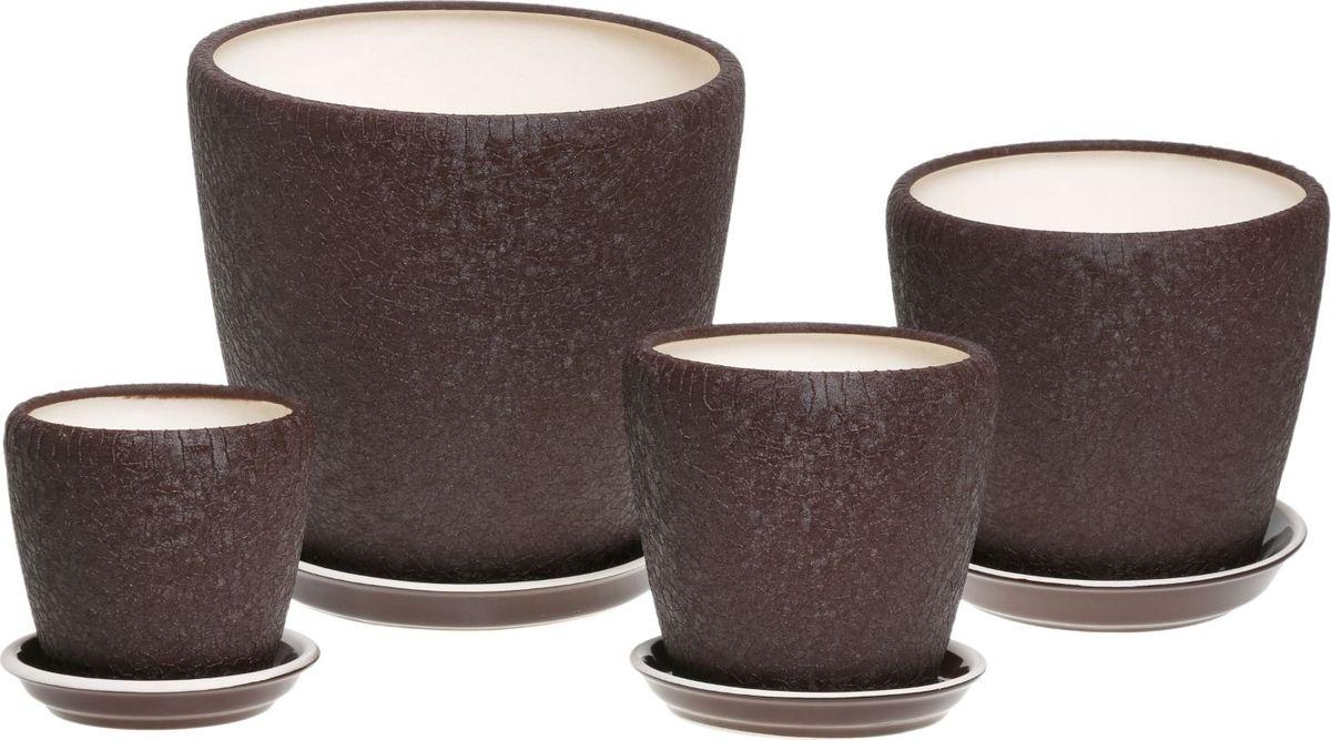 Набор кашпо Керамика ручной работы Грация, цвет: шоколадный, 4 предмета835677Комнатные растения — всеобщие любимцы. Они радуют глаз, насыщают помещение кислородом и украшают пространство. Каждому из них необходим свой удобный и красивый дом. Кашпо из керамики прекрасно подходят для высадки растений: за счёт пластичности глины и разных способов обработки существует великое множество форм и дизайновпористый материал позволяет испаряться лишней влагевоздух, необходимый для дыхания корней, проникает сквозь керамические стенки! #name# позаботится о зелёном питомце, освежит интерьер и подчеркнёт его стиль.
