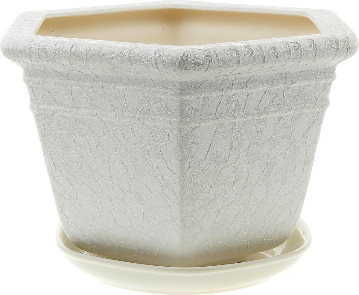 Кашпо Керамика ручной работы Греция, цвет: белый, 4 л835679Комнатные растения — всеобщие любимцы. Они радуют глаз, насыщают помещение кислородом и украшают пространство. Каждому из них необходим свой удобный и красивый дом. Кашпо из керамики прекрасно подходят для высадки растений: за счет пластичности глины и разных способов обработки существует великое множество форм и дизайнов пористый материал позволяет испаряться лишней влаге воздух, необходимый для дыхания корней, проникает сквозь керамические стенки! Позаботится о зеленом питомце, освежит интерьер и подчеркнет его стиль.