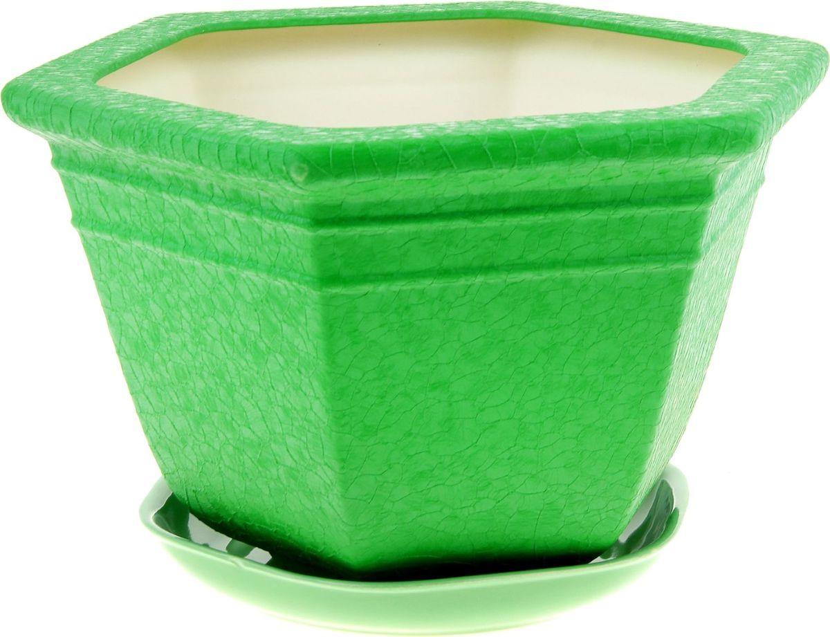 Кашпо Керамика ручной работы Греция, цвет: зеленый, 6 л835687Комнатные растения — всеобщие любимцы. Они радуют глаз, насыщают помещение кислородом и украшают пространство. Каждому из них необходим свой удобный и красивый дом. Кашпо из керамики прекрасно подходят для высадки растений: за счёт пластичности глины и разных способов обработки существует великое множество форм и дизайновпористый материал позволяет испаряться лишней влагевоздух, необходимый для дыхания корней, проникает сквозь керамические стенки! #name# позаботится о зелёном питомце, освежит интерьер и подчеркнёт его стиль.