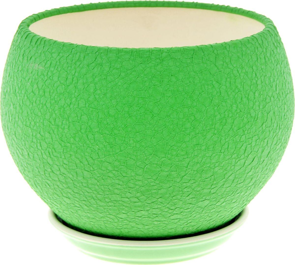 Кашпо Керамика ручной работы Шар, цвет: зеленый, 4,1 л835708Комнатные растения — всеобщие любимцы. Они радуют глаз, насыщают помещение кислородом и украшают пространство. Каждому из них необходим свой удобный и красивый дом. Кашпо из керамики прекрасно подходят для высадки растений: за счёт пластичности глины и разных способов обработки существует великое множество форм и дизайновпористый материал позволяет испаряться лишней влагевоздух, необходимый для дыхания корней, проникает сквозь керамические стенки! #name# позаботится о зелёном питомце, освежит интерьер и подчеркнёт его стиль.