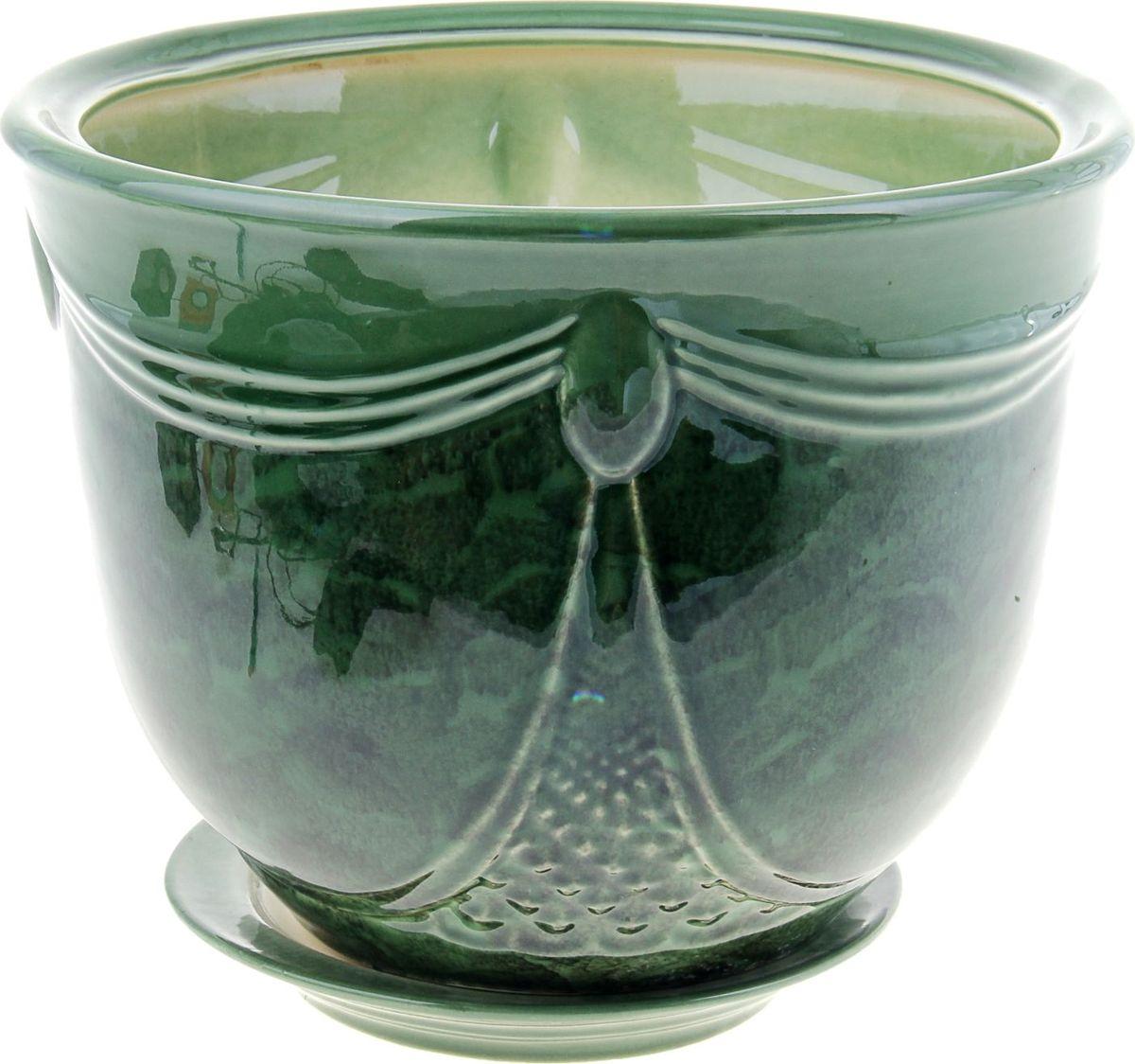 Кашпо Аква, цвет: зеленый, 8 л840170Комнатные растения — всеобщие любимцы. Они радуют глаз, насыщают помещение кислородом и украшают пространство. Каждому из них необходим свой удобный и красивый дом. Кашпо из керамики прекрасно подходят для высадки растений: за счёт пластичности глины и разных способов обработки существует великое множество форм и дизайновпористый материал позволяет испаряться лишней влагевоздух, необходимый для дыхания корней, проникает сквозь керамические стенки! #name# позаботится о зелёном питомце, освежит интерьер и подчеркнёт его стиль.