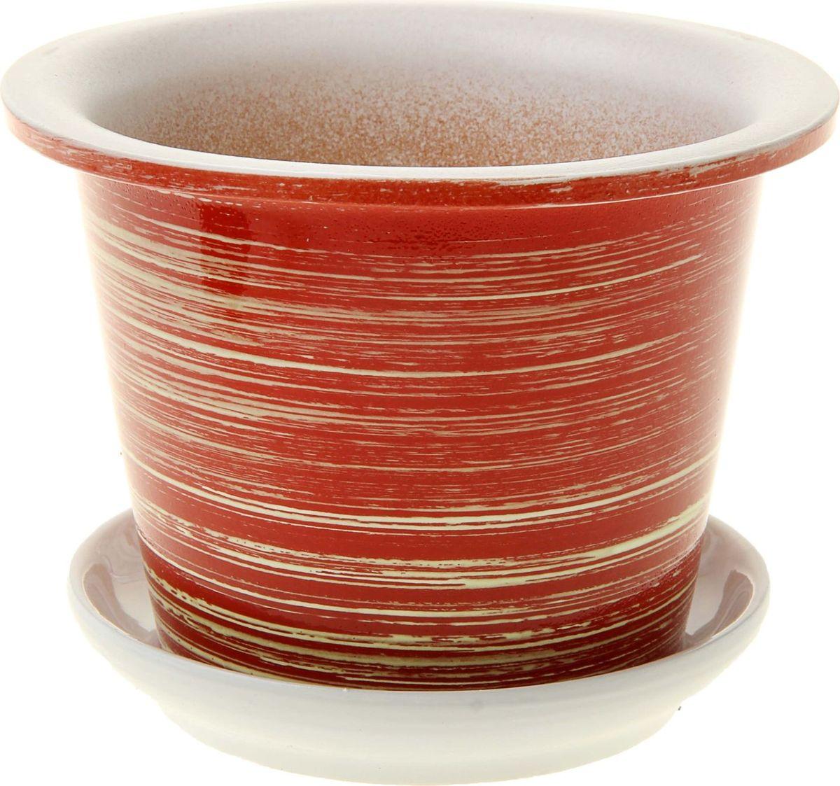 Кашпо Красно-белый этюд, с поддоном, 0,5 л860624