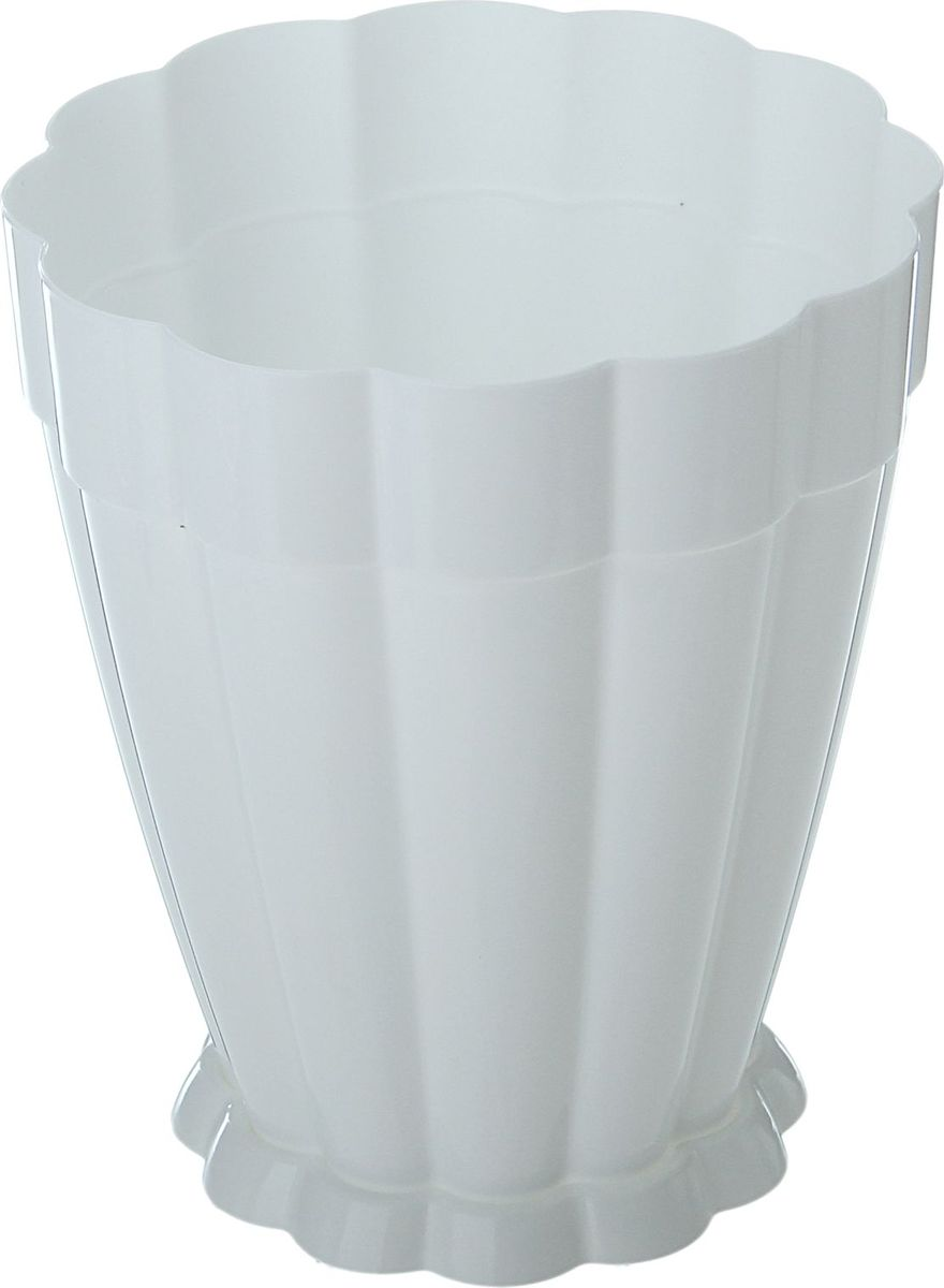 Горшок для цветов Альтернатива Фантастика, с поддоном, цвет: белый, 1,5 л868020