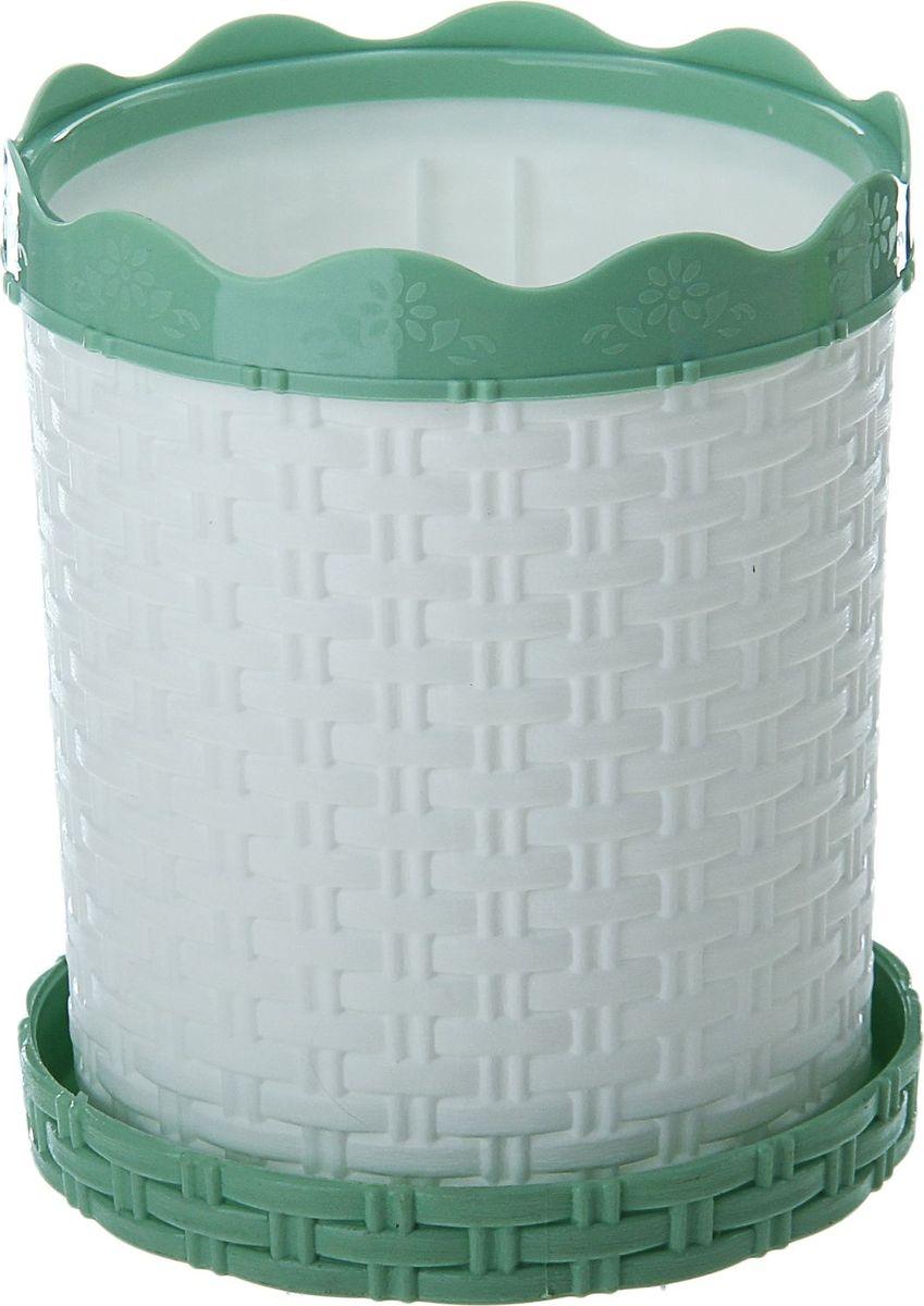 Кашпо Альтернатива Плетенка, с поддоном, цвет: белый, зеленый, 1 л868112
