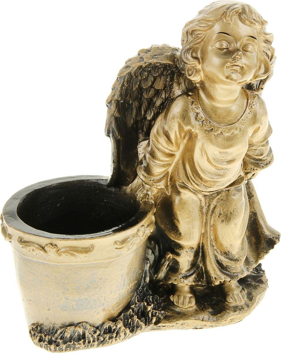 """Декоративное кашпо """"Ангел"""", выполненное из гипса, предназначено для посадки декоративных растений и станет прекрасным украшением для дома. Благодаря своему дизайну впишется в любой интерьер помещения."""