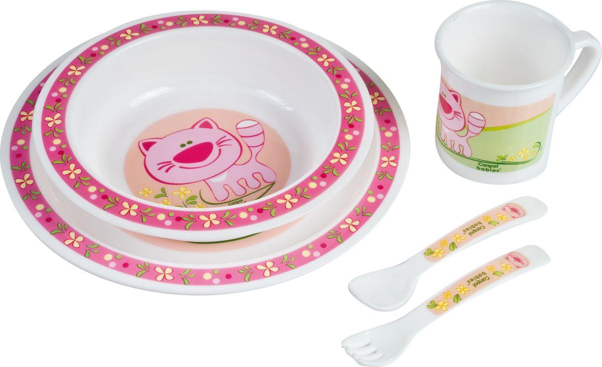 Canpol babies Набор посуды для кормления цвет розовый 5 предметов210307210Набор детской посуды Canpol Babies, изготовленный из прочного и безопасного полипропилена, включает в себя миску глубокую, тарелку, чашку, вилку, ложку.Все предметы украшены изображением кошечки. Ручки ложечки и вилки специальной формы, благодаря которой малышу будет удобно кушать самостоятельно. Яркие красочные рисунки на посуде порадуют малыша и сделают процесс кормления еще более увлекательным.Допускается разогрев в микроволновой печи.Допускается использование в посудомоечной машине.