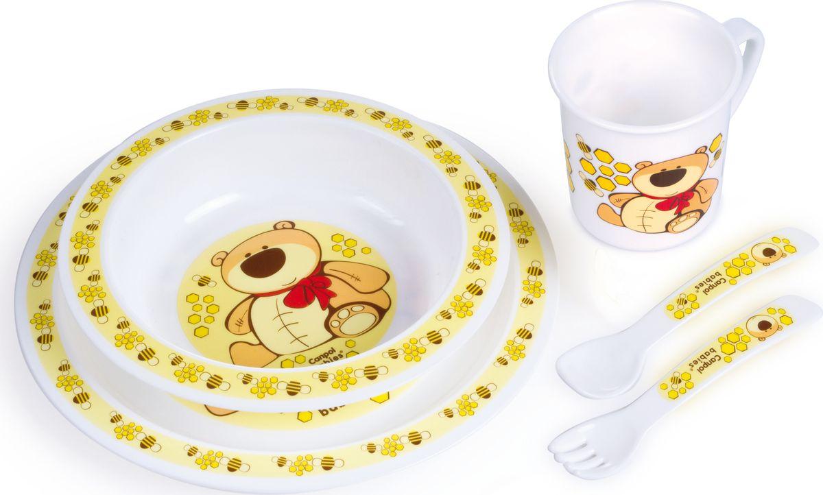 Canpol babies Набор посуды для кормления цвет желтый 5 предметов210307410Бренд Canpol babies уже более 25 лет помогает мамам во всем мире растить своих малышей здороНабор детской посуды Canpol Babies, изготовленный из прочного и безопасного полипропилена, включает в себя миску глубокую, тарелку, чашку, вилку, ложку.Все предметы украшены изображением мишки. Ручки ложечки и вилки специальной формы, благодаря которой малышу будет удобно кушать самостоятельно. Яркие красочные рисунки на посуде порадуют малыша и сделают процесс кормления еще более увлекательным.Допускается разогрев в микроволновой печи.Допускается использование в посудомоечной машине.