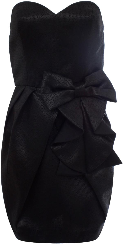 Платье женское oodji Ultra, цвет: черный металлик. 11902121/33159/2900X. Размер 38 (44-164)11902121/33159/2900XСтильное платье oodji изготовлено из качественного плотного материала. Модель с открытым верхом застегивается сзади на молнию. Передняя часть платья декорирована крупным декоративным бантом.