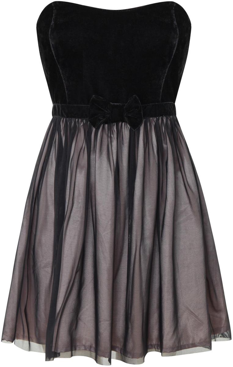Платье oodji Ultra, цвет: черный, персиковый. 14016022/33321/2954L. Размер 36-170 (42-170)14016022/33321/2954LСтильное платье oodji изготовлено из качественного материала. Модель с открытым верхом застегивается сзади на молнию. Передняя часть платья декорирована декоративным бантом.