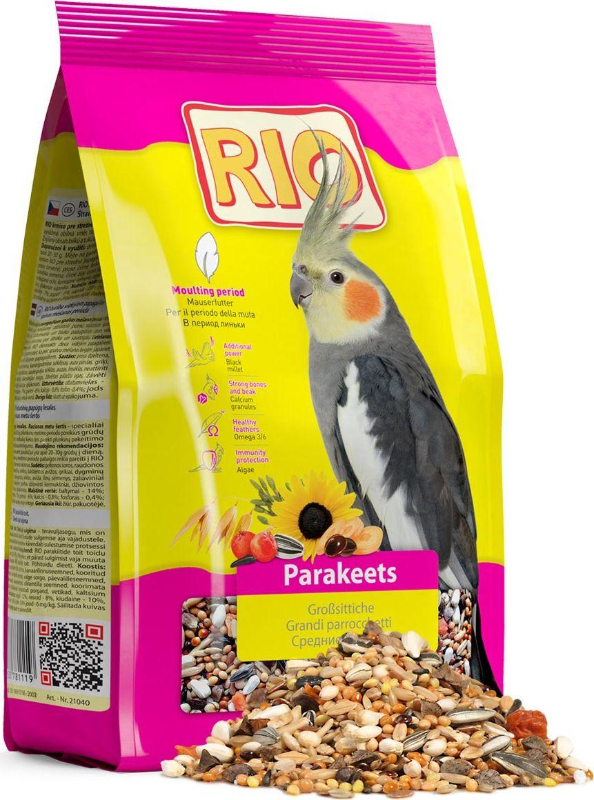 Корм для средних попугаев Rio, в период линьки, 500 г13965Полнорационный корм для средних попугаев Rio - сбалансированная зерновая смесь c повышенным содержанием белков и жиров для быстрого и безболезненного восстановления оперения. Товар сертифицирован.
