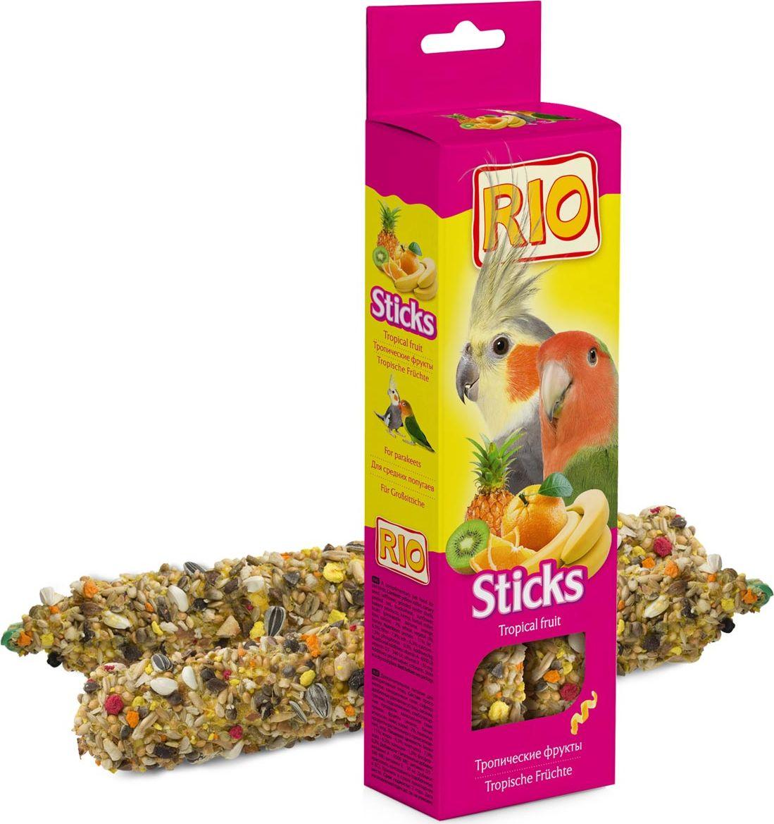 Палочки для средних попугаев Rio, с тропическими фруктами, 2 х 75 г56823Лакомство для средних попугаев с тропическими фруктами. Дополнительное питание для декоративных птиц.В процессе производства палочки запекаются в специальных печах особым способом. Это обеспечивает превосходный вкус и хрустящую консистенцию палочек. Каждая палочка содержит более 15 ингредиентов. Разнообразные семена, фрукты, орехи, мед и другие компоненты делают палочку особенно вкусной. С таким лакомством ваша птица проведет время активно и весело.Товар сертифицирован.