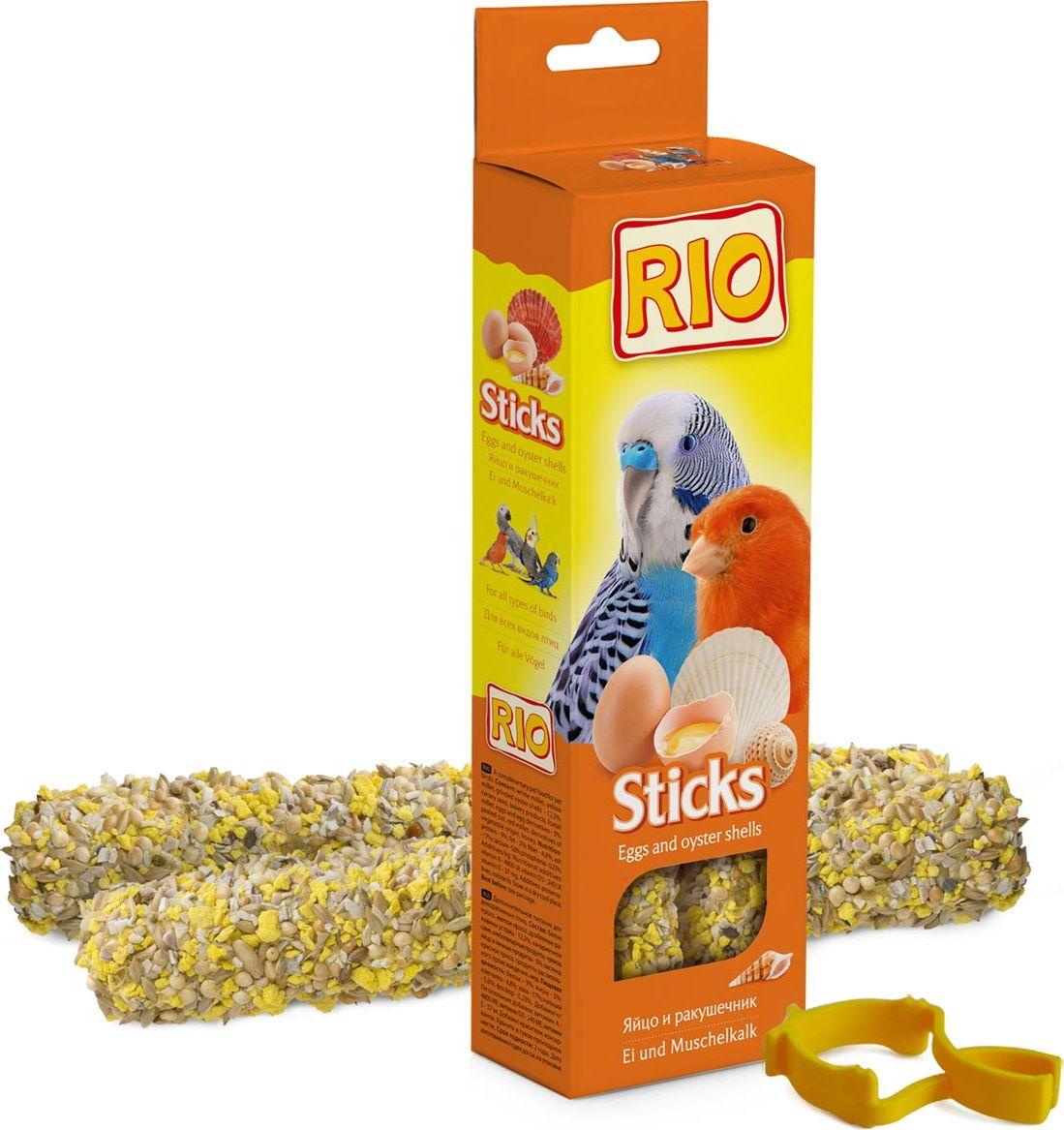 Лакомство для всех видов птиц RIO Sticks, с яйцом и ракушечником, 2 х 40 г56826Лакомство RIO Sticks с яйцом и ракушечником - это дополнительное питание для всех видов птиц. В процессе производства палочки запекают в специальных печах особым способом, это обеспечивает превосходный вкус и хрустящую консистенцию.Лакомство имеет буковый стержень, который отлично подходит для чистки клюва.В комплект входит съемный держатель.Товар сертифицирован.