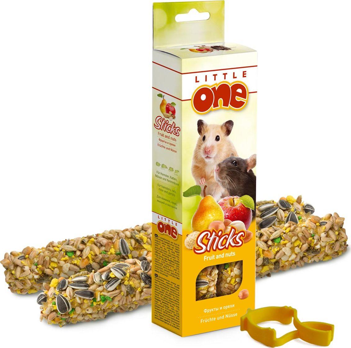 """Лакомство для хомяков, крыс, мышей и песчанок Little One """"Sticks"""", с фруктами и орехами, 2 х 60 г"""