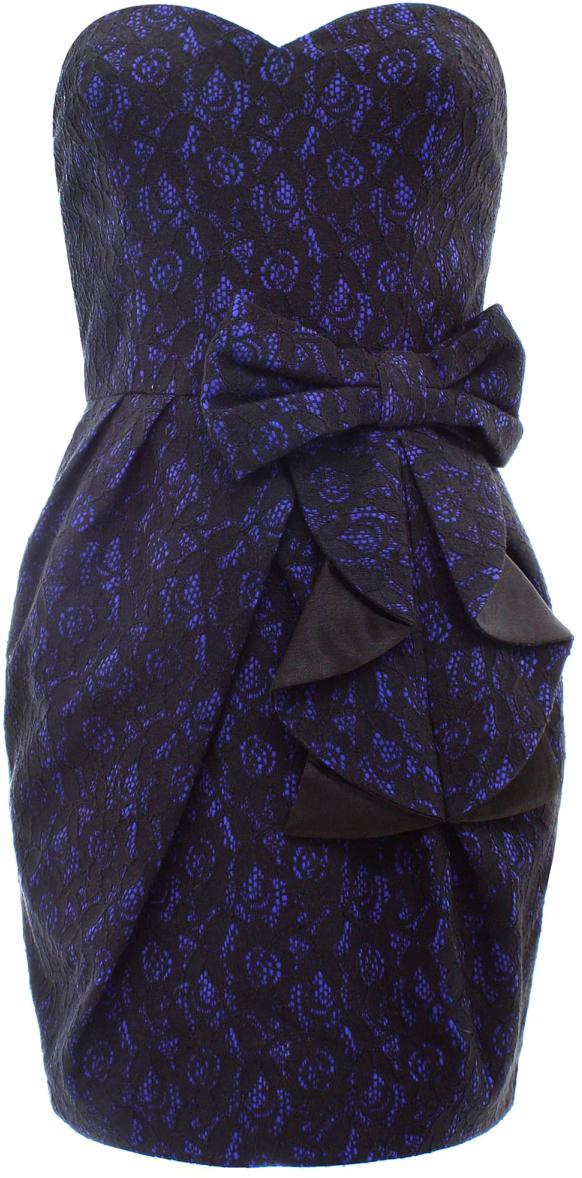 Платье oodji Ultra, цвет: синий, черный. 11902121-1/33130/7529L. Размер 38-170 (44-170)11902121-1/33130/7529LСтильное платье oodji изготовлено из качественного плотного материала. Модель с открытым верхом застегивается сзади на молнию. Нижняя часть оформлена складками и большим декоративным бантом. Сзади имеется небольшой разрез.