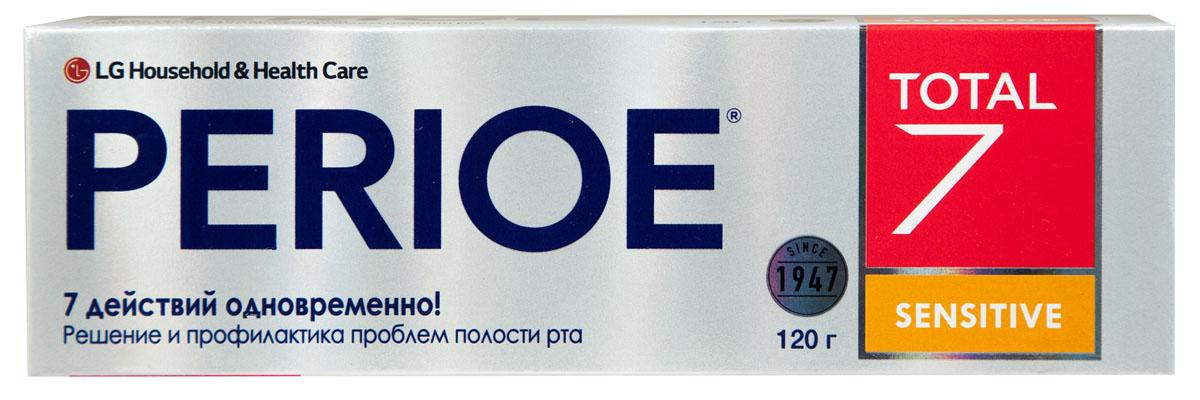 Perioe Зубная паста комплексного действия Total 7 sensitive 120 г18100061Комплексное действие – решает сразу 7 задач: предотвращает кариес,устраняет налет, предотвращает образование зубного камня, устраняет неприятный запах, заботится о здоровье десен, обладает отбеливающим эффектом, укрепляет эмаль. Sensitive - подходит для чувствительных зубов