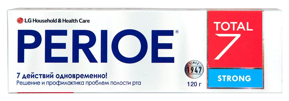 Perioe Зубная паста комплексного действия Total 7 strong 120 г18100062Комплексное действие – решает сразу 7 задач: предотвращает кариес,устраняет налет, предотвращает образование зубного камня, устраняет неприятный запах, заботится о здоровье десен, обладает отбеливающим эффектом, укрепляет эмаль. Strong - в 7 раз больше свежести