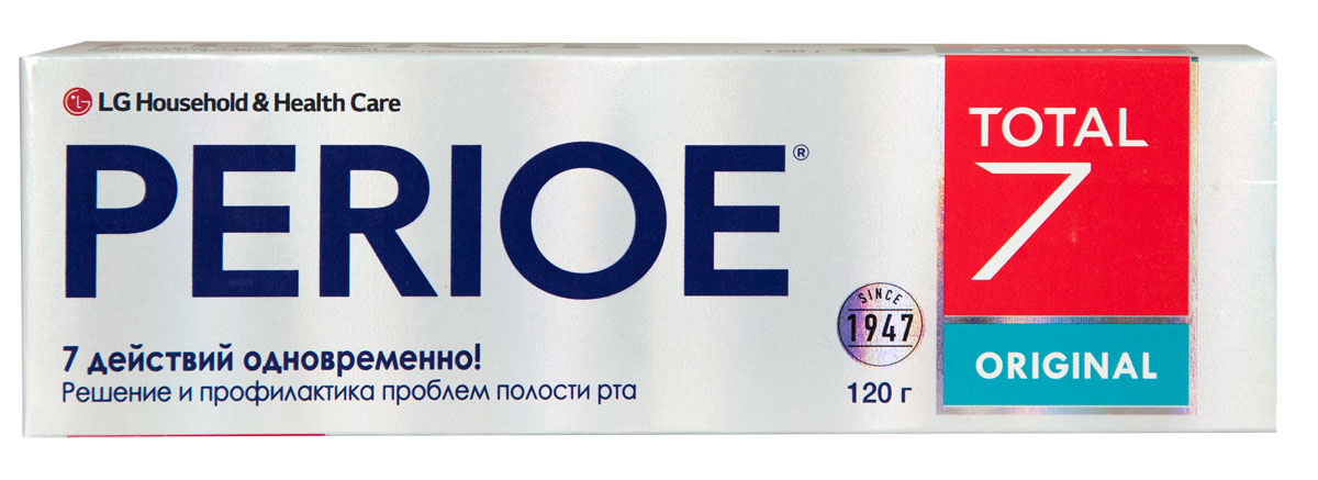Perioe Зубная паста комплексного действия Total 7 original 120 г18100063Комплексное действие – решает сразу 7 задач: предотвращает кариес,устраняет налет, предотвращает образование зубного камня, устраняет неприятный запах, заботится о здоровье десен, обладает отбеливающим эффектом, укрепляет эмаль. Original- для всей семьи