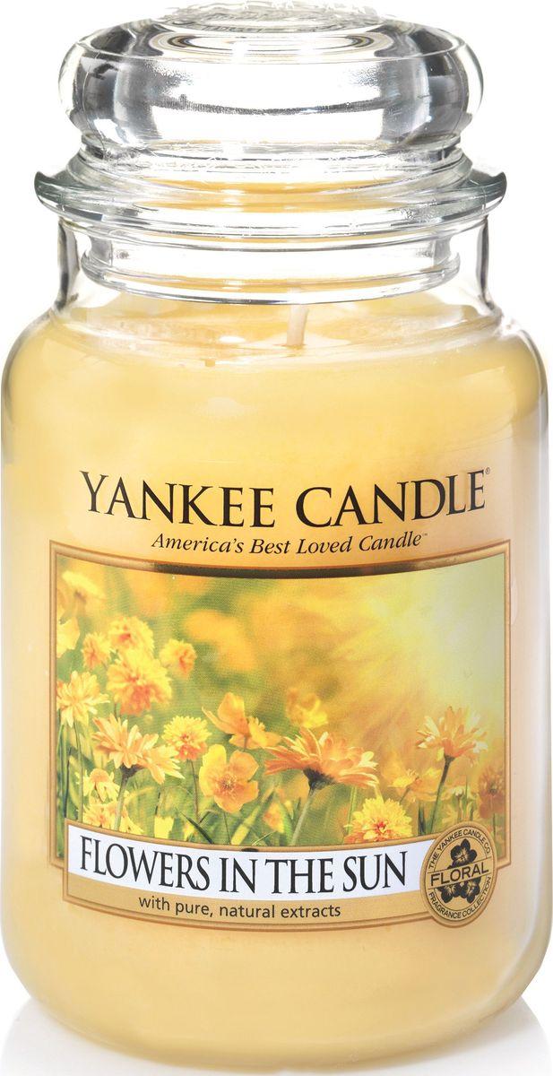 Ароматическая свеча Yankee Candle Цветы на солнце / Flowers In The Sun, 110-150 ч1351652EАроматическая свеча Yankee Candle не только окутает вас волшебным ароматом, но еще и прекрасно впишется в интерьер. Использовать изделие можно как в доме, так и на веранде или в саду. Свеча в стеклянной банке с крышкой выполнена из высокоочищенного парафина с добавлением натуральных эфирных масел. Стекло делает горение свечи безопасным.Описание ароматической композиции: прогулка в саду, залитым солнечным светом. Удивительно яркий аромат сладких цветов.Верхняя нота: Лимон, Апельсин.Средняя нота: Цветущие азалии, Роза.Базовая нота: Сладкий воздушный мускус.
