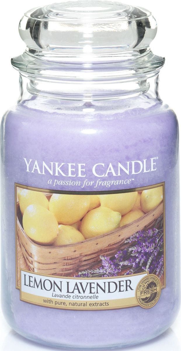 Ароматическая свеча Yankee Candle Лимон и лаванда / Lemon Lavender, 110-150 ч1073481ЕАроматическая свеча Yankee Candle не только окутает вас волшебным ароматом, но еще и прекрасно впишется в интерьер. Использовать изделие можно как в доме, так и на веранде или в саду. Свеча в стеклянной банке с крышкой выполнена из высокоочищенного парафина с добавлением натуральных эфирных масел. Стекло делает горение свечи безопасным.Описание ароматической композиции: насыщенный аромат смеси лимонных цитрусовых и сладких цветов лаванды.Верхняя нота: Мандарин, Лимон, Лаванда.Средняя нота: Фруктовые ноты, Апельсин, Петитгрейн, Эвкалипт.Базовая нота: Ваниль, Оттенки специй.