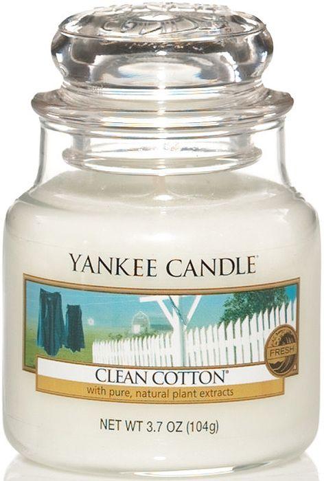 Ароматическая свеча Yankee Candle Чистый хлопок / Clean Cotton, 25-45 ч1010727EАроматическая свеча Yankee Candle не только окутает вас волшебным ароматом, но еще и прекрасно впишется в интерьер. Использовать изделие можно как в доме, так и на веранде или в саду. Свеча в стеклянной банке с крышкой выполнена из высокоочищенного парафина с добавлением натуральных эфирных масел. Стекло делает горение свечи безопасным.Описание ароматической композиции: аромат высушенного на свежем воздухе хлопка, с легкими оттенками белых цветов и лимона.Верхняя нота: Озон, Зеленая листва, Бергамот. Средняя нота: Ландыш, Роза.Базовая нота: Ветивер, Кедр, Мускус, Древесные.