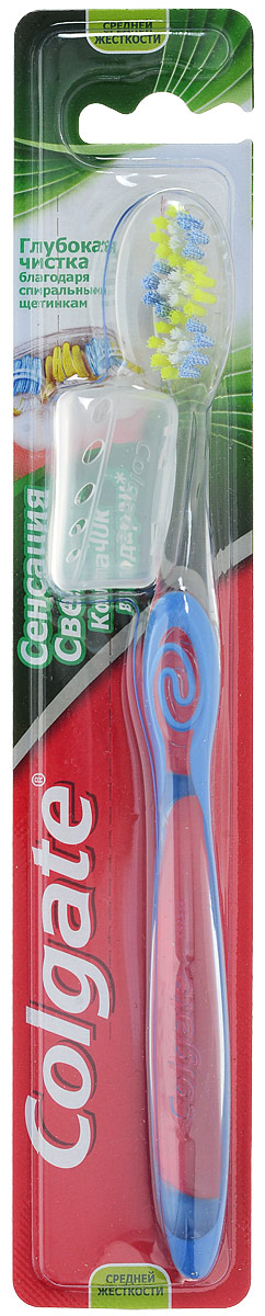 Colgate Зубная щетка Сенсация Свежести, средней жесткости, цвет синийFVN51965_синийУникально расположенные щетинки чистят между зубов вдоль линии десен. Волнистая подстрижка щетины повторяет форму зубов для эффективной чистки. Имеется подушечка для чистки языка. В набор входит колпачок для зубной щетки.Товар сертифицирован.