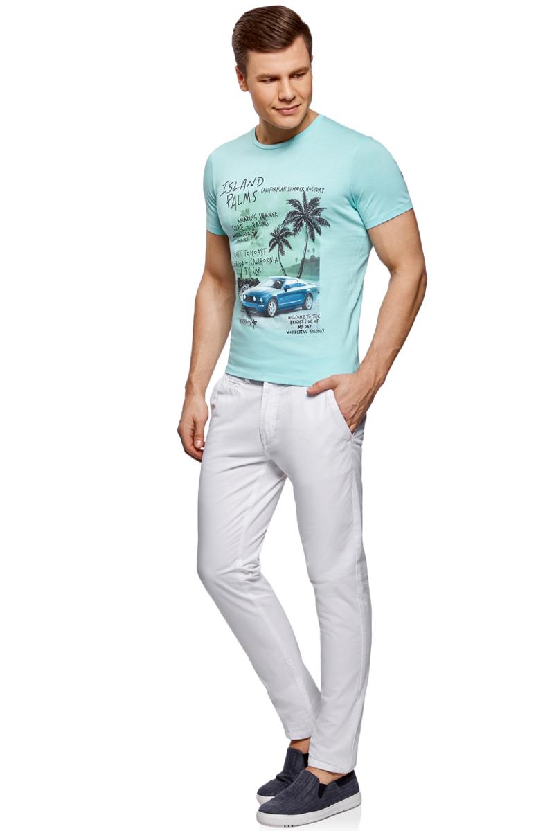 Футболка мужская oodji Lab, цвет: бирюзовый. 5L611364M/39485N/7329P. Размер XL (56)5L611364M/39485N/7329PМужская футболка от oodji выполнена из натурального хлопкового трикотажа. Модель с короткими рукавами и круглым вырезом горловины спереди оформлена стильным принтом.